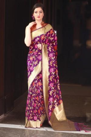 Immaculate Purple Kanchivaram Silk Jacquard  Saree