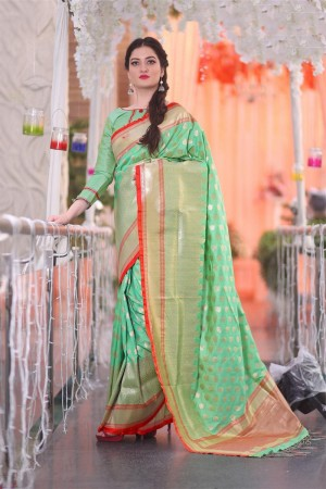 Blooming Light green Banarsi Silk Jacquard  Saree