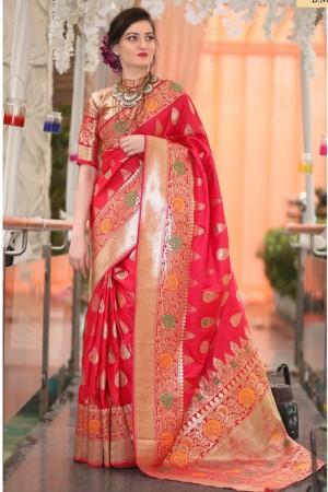 Definitive Red Banarsi Silk Jacquard  Saree