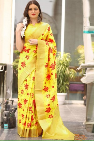 Enigmatic Yellow Kora Silk Jacquard  Saree