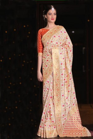 Decent Cream Jamdani Silk Jacquard  Saree