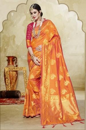 Ethereal Orange Banarasi Art Silk Banarasi Saree