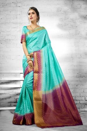 Trendy Sky  Nylon Silk Jacquard  Saree