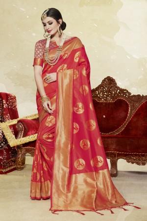 Auspicious Red Banarasi Art Silk Banarasi Saree