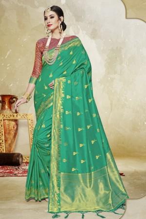 Appealing Light Green Banarasi Art Silk Banarasi Saree