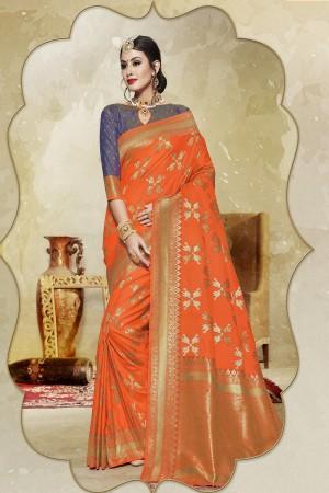 Applaudable Orange Banarasi Art Silk Banarasi Saree