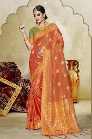 Remarkable Orange Banarasi Art Silk Banarasi Saree