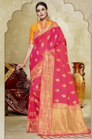 Wonderful Pink Banarasi Art Silk Banarasi Saree