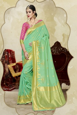 Modest Light Green Banarasi Art Silk Banarasi Saree