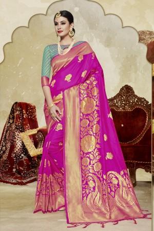 Superb Pink Banarasi Art Silk Banarasi Saree