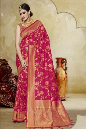 Unique Pink Banarasi Art Silk Banarasi Saree