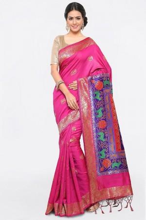 Classic Pink Banarasi Silk Weave Work Saree