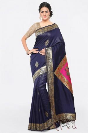 Desirable Navy Blue Banarasi Silk Weave Work Saree