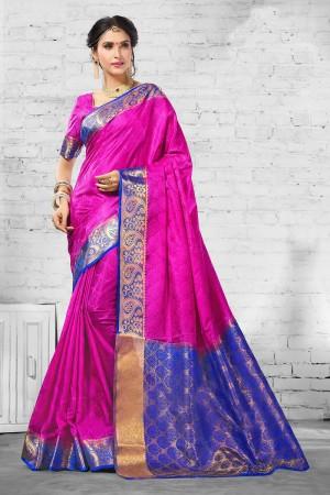 Charming Pink  Nylon Silk Jacquard  Saree