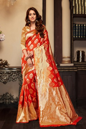 Disha patani Red Kanjeevaram Art Silk Jacquard Banarasi Designer Sarees