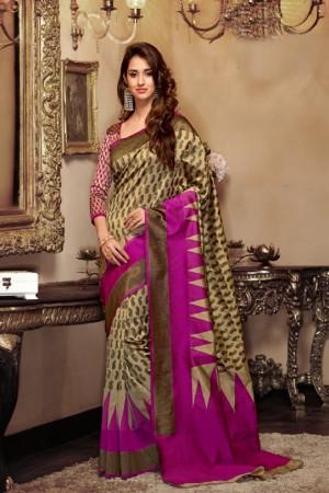 Disha patani Beige Kanjeevaram Art Silk Jacquard Banarasi Designer Sarees