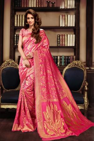 Disha patani Light_pink Kanjeevaram Art Silk Jacquard Banarasi Designer Sarees