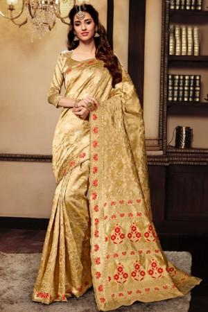 Disha patani Cream Kanjeevaram Art Silk Jacquard Banarasi Designer Sarees