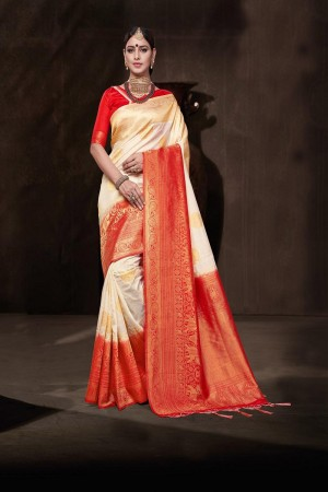 Sparkling cream Nylon Jacquard Saree