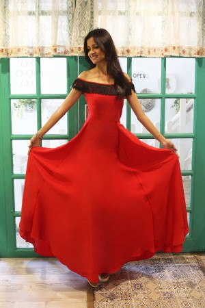 Red Long Slit Cocktail Party Gown