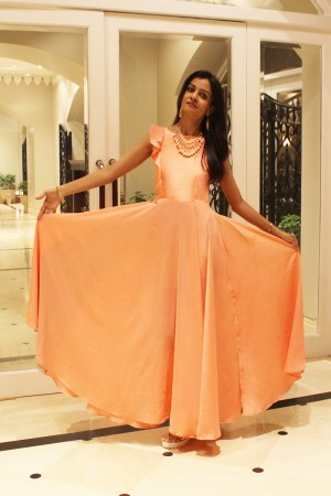 Peach Boat Neck Cocktail Party Gown with Self Fril