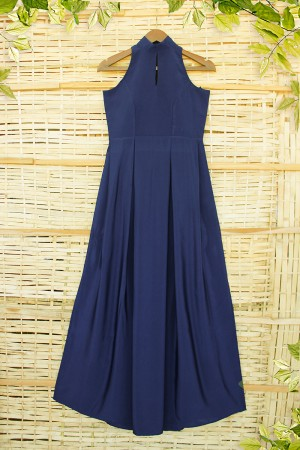 Neavy Blue High Neck Cocktail Party Gown