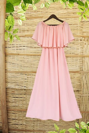 Baby Pink Off Sholder Cocktail Party Gown