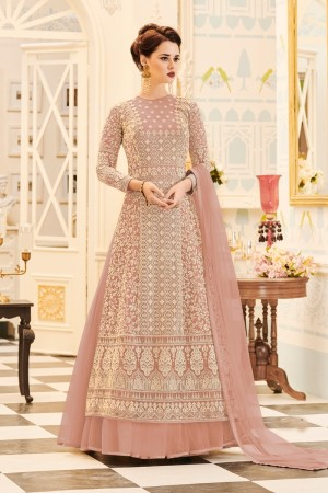Light Peach Net Salwar Kameez