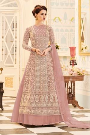 Light Pink Net Salwar Kameez