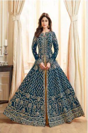 Aqua Blue Royal Silk Salwar Kameez