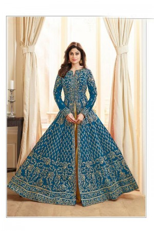 Blue Royal Silk Salwar Kameez