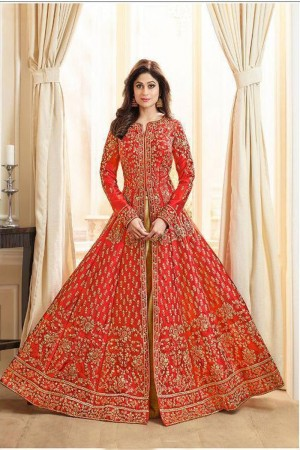 Orange Royal Silk Salwar Kameez