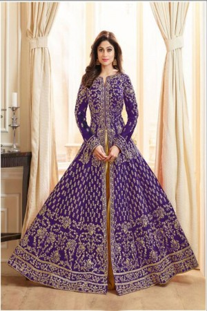 Purple Royal Silk Salwar Kameez