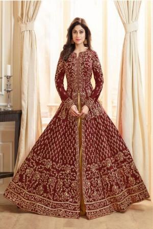 Maroon Royal Silk Salwar Kameez