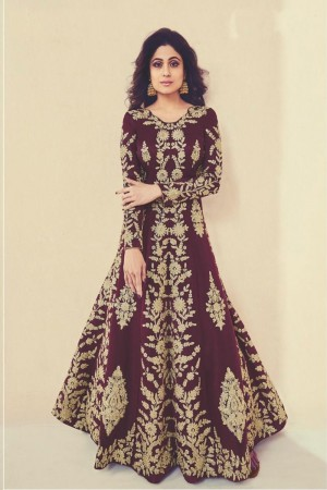 Wine Royal Silk Salwar Kameez