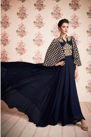 Navy Blue Georgette Salwar Kameez