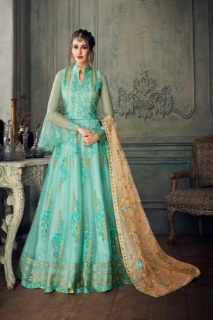Sky Blue Net Salwar Kameez