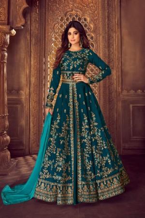 Aqua Blue Mulberry silk Salwar Kameez