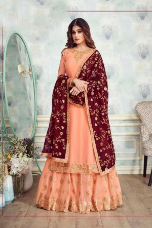 Light Orange Georgette Salwar Kameez
