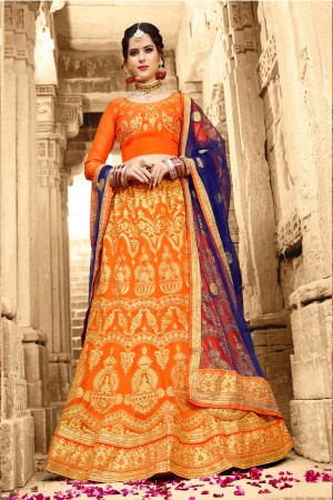 Peppy Orange Net Heavy Zari Embrodiery  With Blouse Lehenga Choli