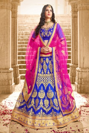 Picturesque Blue Net Heavy Zari Embrodiery  With Blouse Lehenga Choli