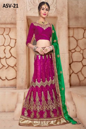 Splendiferous Magenta Net Fancy Multi Zari Embrodiery With Blouse Lehenga Choli