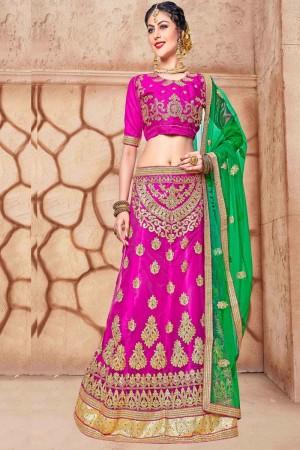 Captivating Magenta Net Fancy Multi Zari Embrodiery With Blouse Lehenga Choli