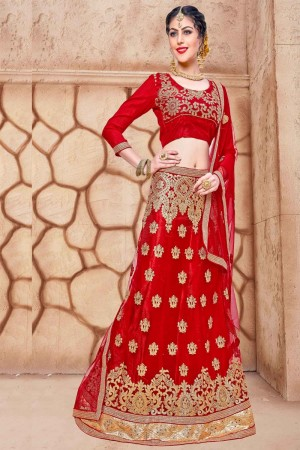 Glitzy Red Net Fancy Multi Zari Embrodiery With Blouse Lehenga Choli