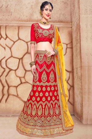 Distinctive Red Net Fancy Multi Zari Embrodiery With  Blouse Lehenga Choli
