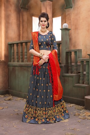 Blissful Grey Soft Tifi Silk Heavy Zari Embrodiery With Blouse Lehenga Choli