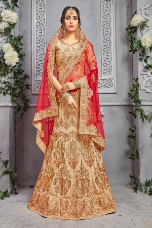 Beguiling Beige Pure Silk Coding Work And Embroidery Work Lehenga Choli