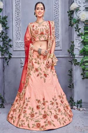 Alluring peach Velvet Coding Work And Embroidery Work Lehenga Choli