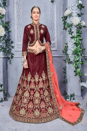 Enriching Brown  Banarsi Silk Coding Embroidery Work  Lehenga Choli