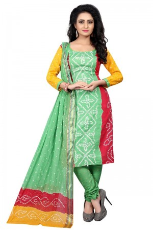 Stupendous Multicolor Satin Cotton Bandhni Dress Material